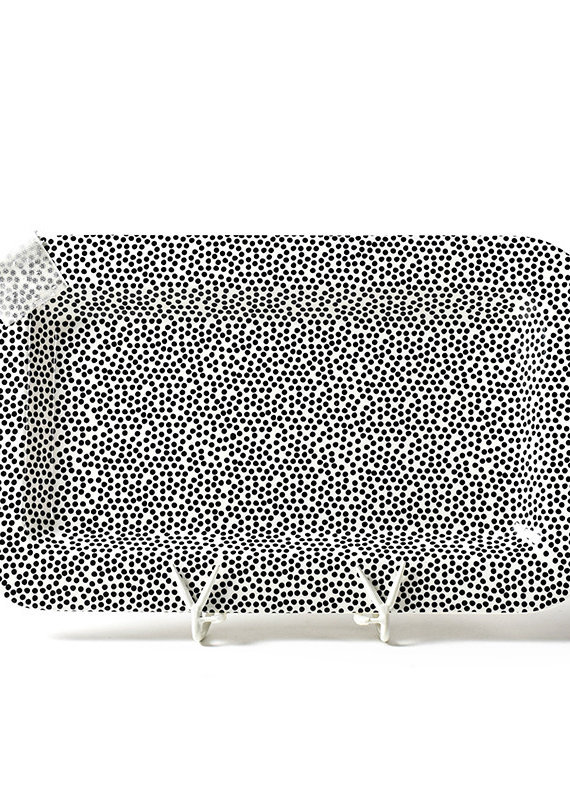 Happy Everything Black Small Dot Mini Rectangle Platter