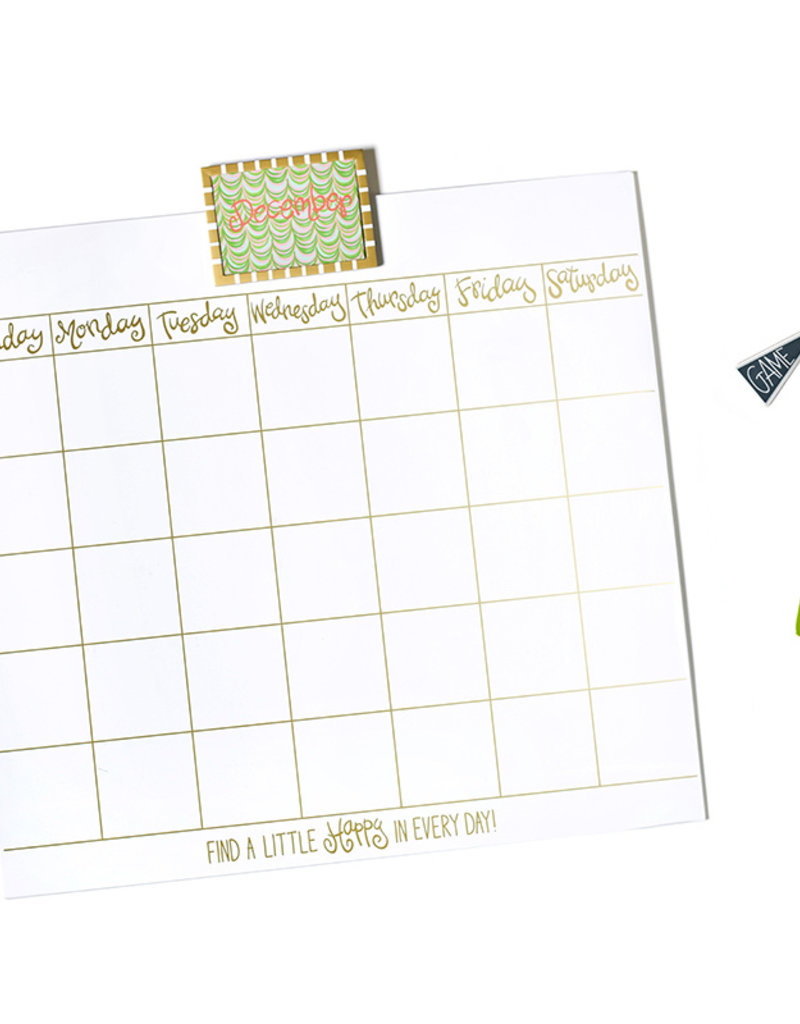Happy Everything Magnetic Dry Erase Wall Calendar with Gold Frame Attachment and Monthly Cards