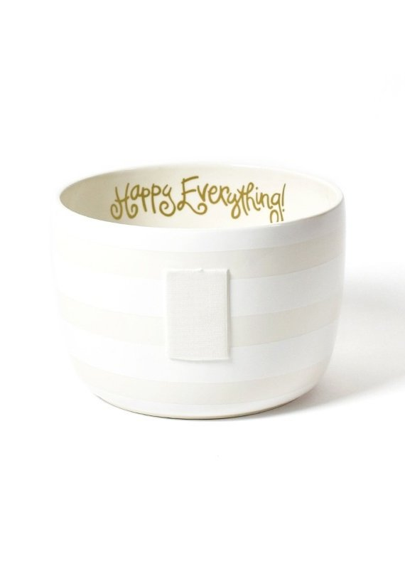 Happy Everything White Stripe Big Bowl