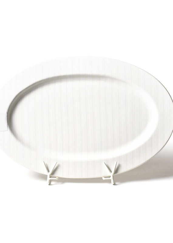 Happy Everything White Stripe Big Entertaining Platter