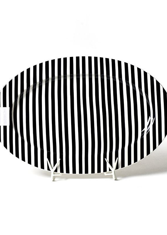 Happy Everything Black Stripe Big Entertaining Platter