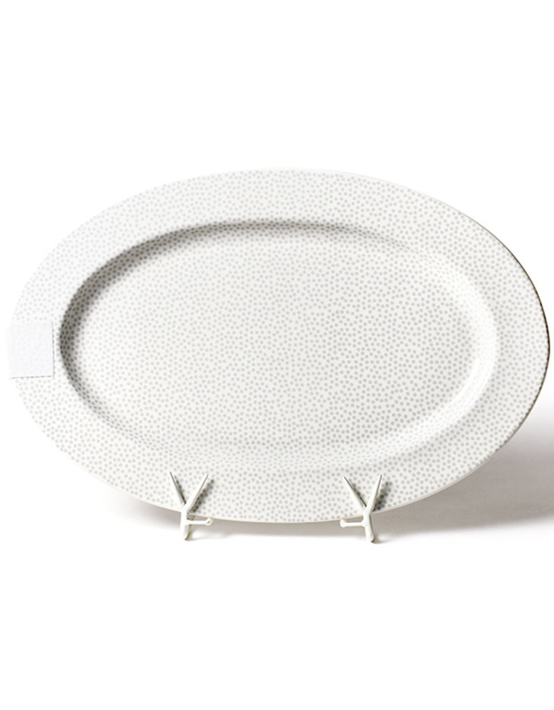 Happy Everything Stone Small Dot Oval Entertaining Platter