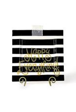 Happy Everything Black Stripe Big Square Platter