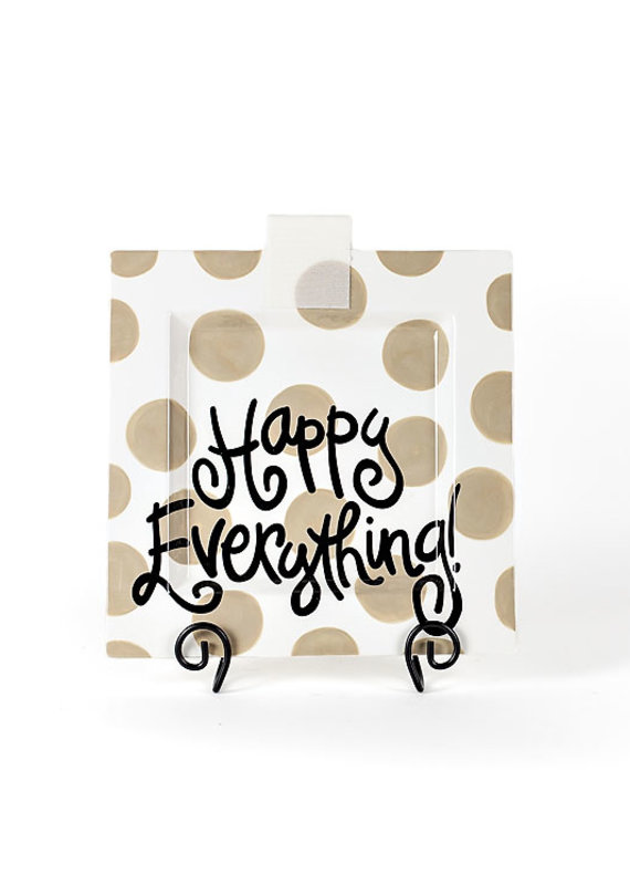 Happy Everything Neutral Dot Big Square Platter