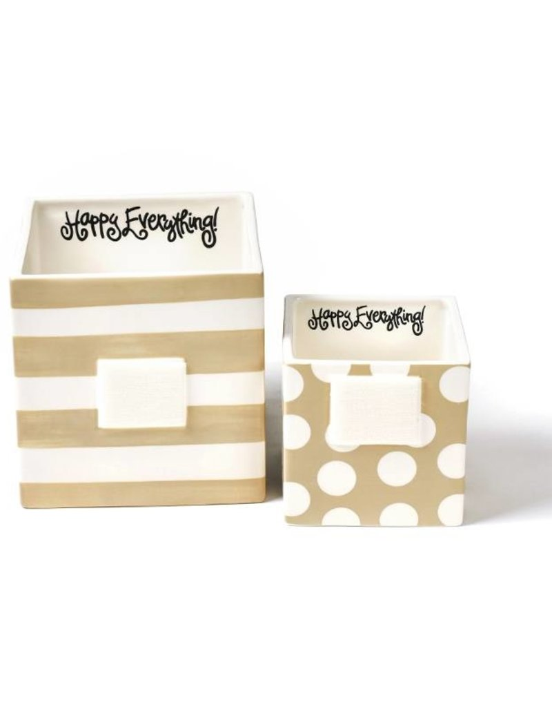 Happy Everything Neutral Stripe Mini Nesting Cube- Medium