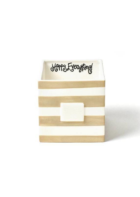 Happy Everything Neutral Stripe Mini Nesting Cube- Medium