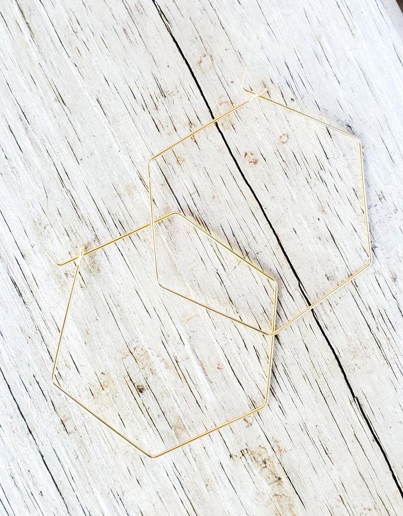 LDayDesigns XL Gold Hexagon Hoop