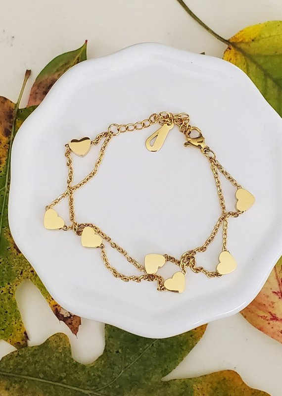 LDayDesigns Stainless Gold Hearts Bracelet