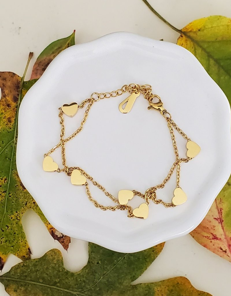 LDayDesigns Stainless Gold Hearts Bracelet