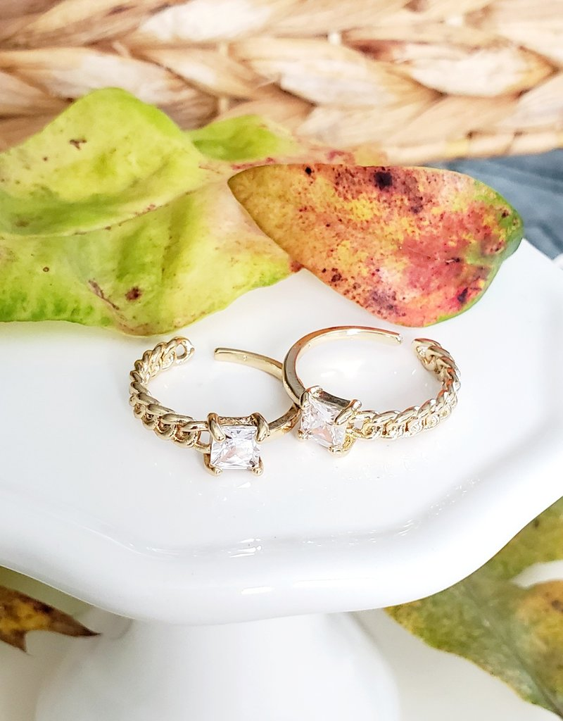 LDayDesigns Half Chain Crystal Ring