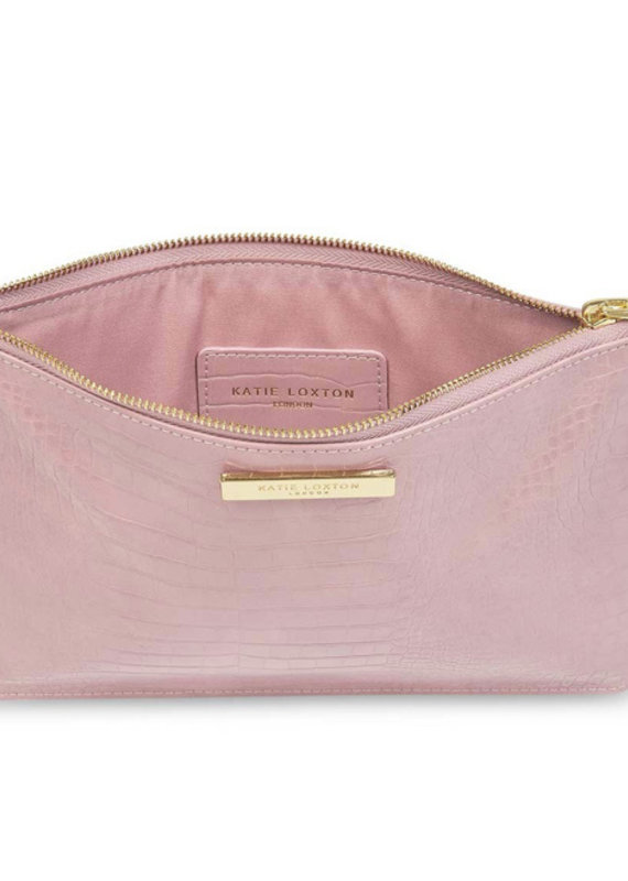 Celine Croc Perfect Pouch-Pink