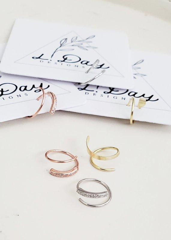 LDayDesigns Rose Crystal Ear Twist- Sterling Silver