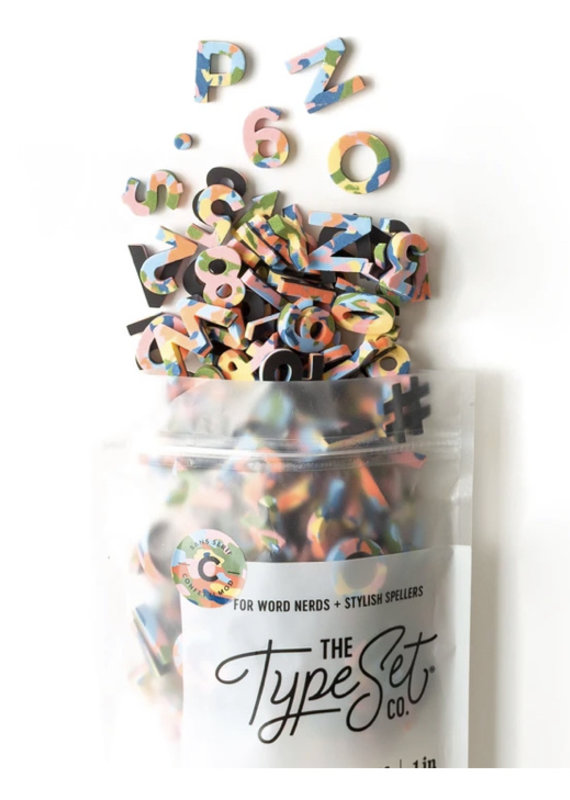 Type Set Co Magnetic Letters- Rainbow Confetti Mod
