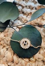 LDayDesigns Crystal Initial Bracelet -N