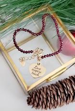 LDayDesigns BTE/ Raw Garnet Gold Heart Bracelet