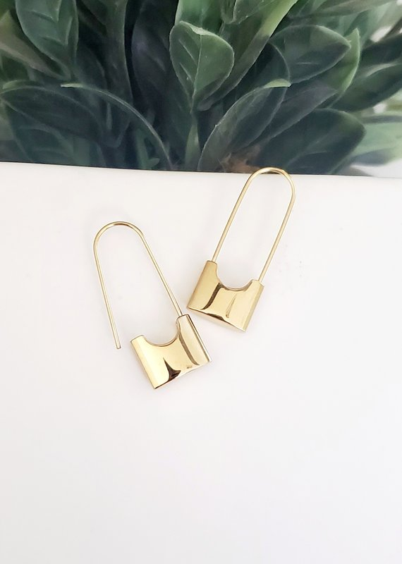 LDayDesigns Dainty Lock Earrings-Gold