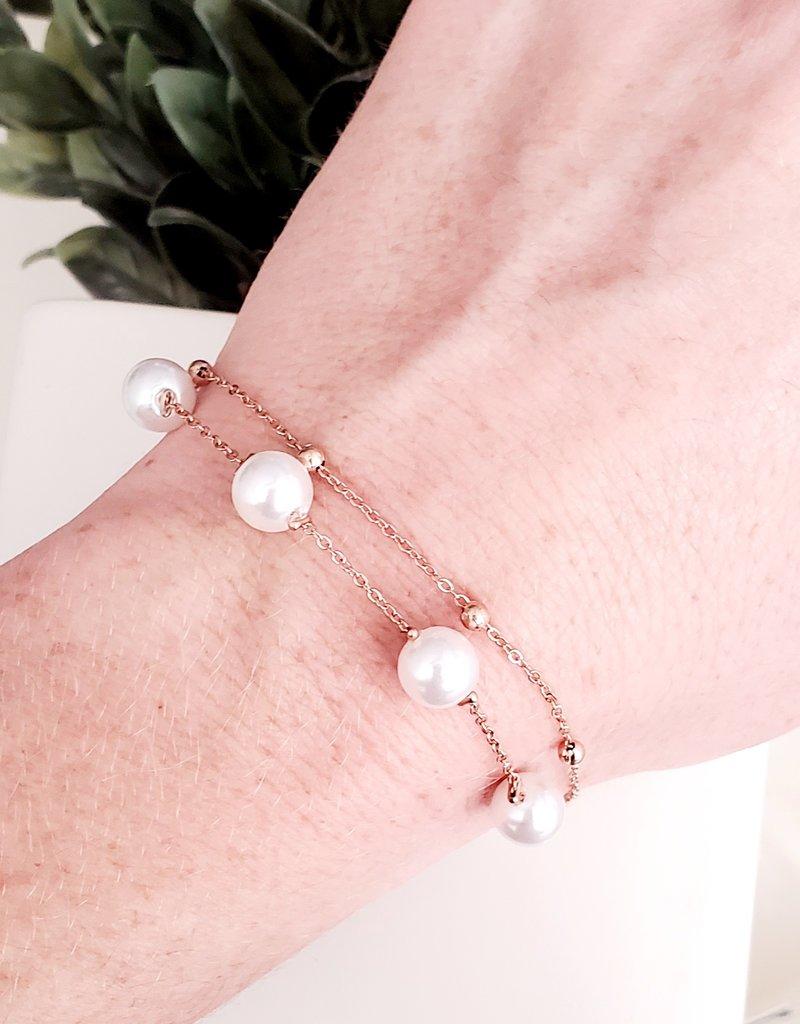 LDayDesigns Pearls/Gold Stainless Steel Bracelet