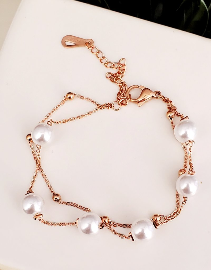 LDayDesigns Pearls/Rose Stainless Steel Bracelet
