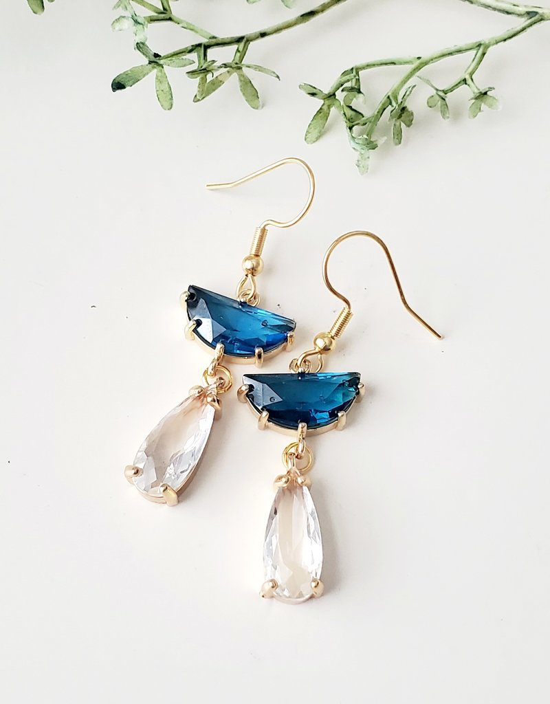 LDayDesigns Crystal & Blue Glass Earrings
