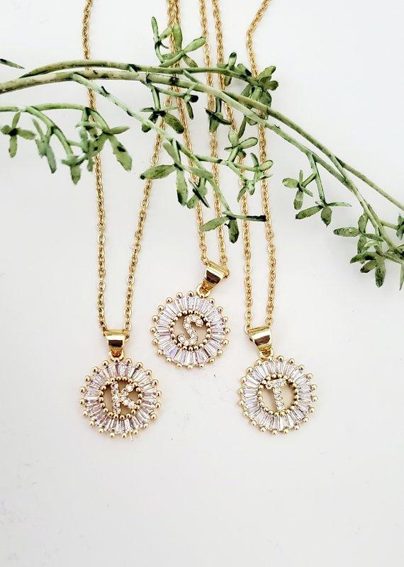 LDayDesigns Crystal Initial Necklace