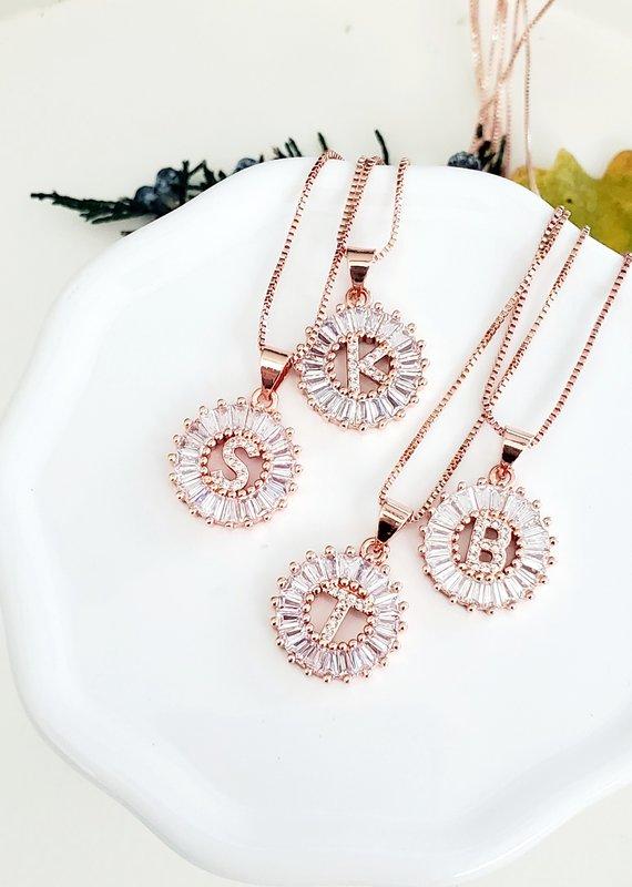 LDayDesigns Rose Crystal Initial Necklace