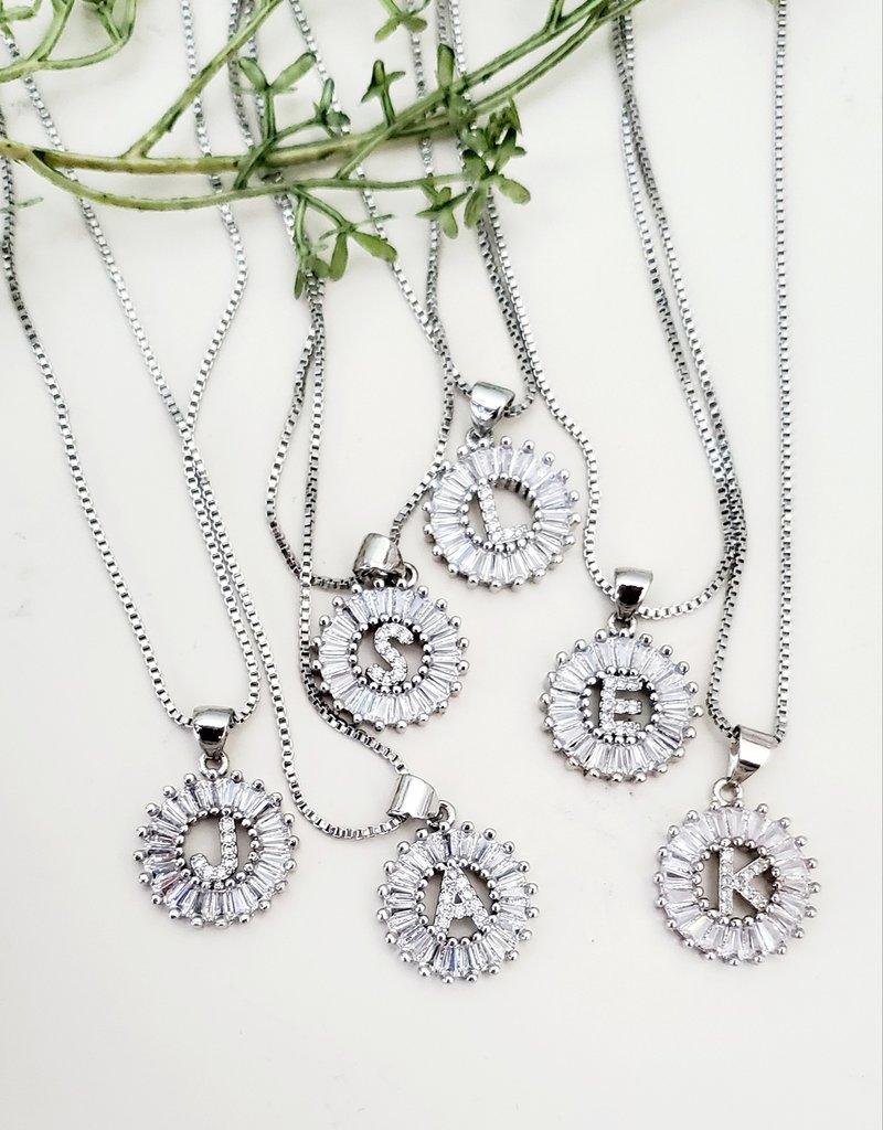 LDayDesigns Silver Crystal Initial Necklace