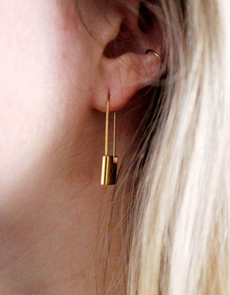 LDayDesigns Dainty Lock Earrings-Gold