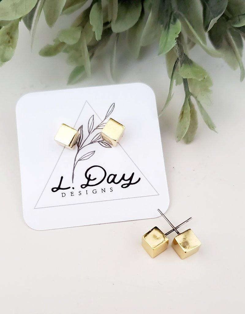 LDayDesigns Cube Studs / Gold