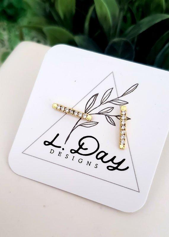 LDayDesigns Crystal Clear Bar Earrings