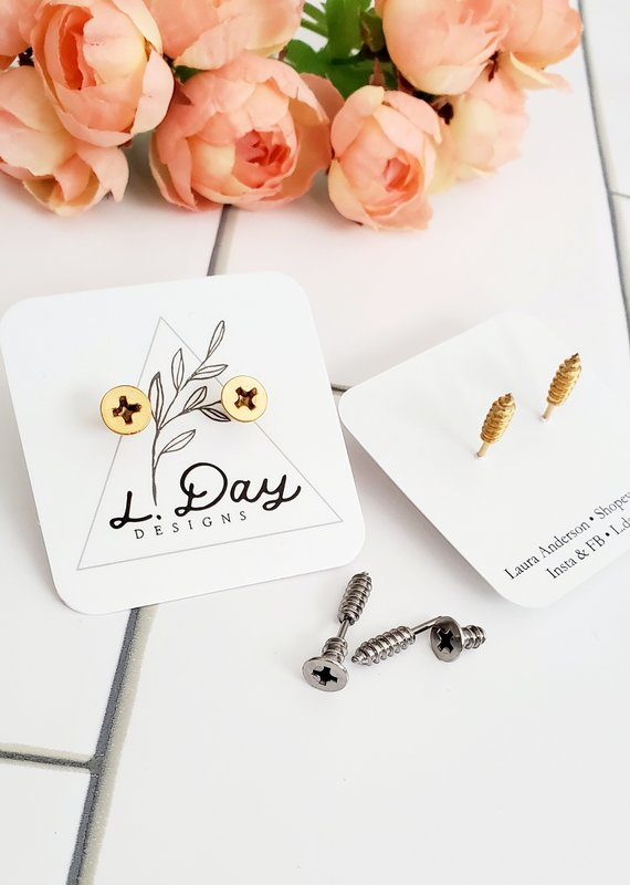 LDayDesigns Stainless Steel Screw Earrings