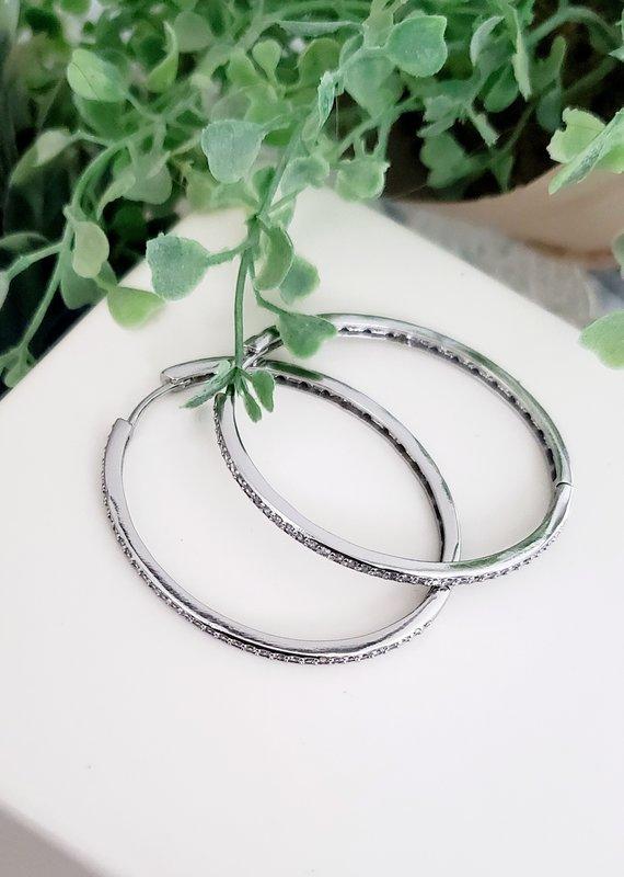 LDayDesigns Crystal Oval Hoop-Silver