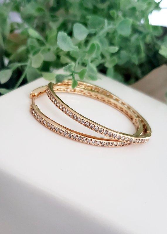LDayDesigns Crystal Oval Hoop-Gold