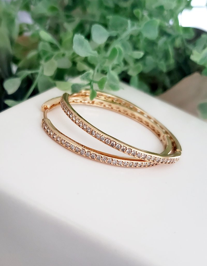LDayDesigns Crystal Oval Hoop-Gold