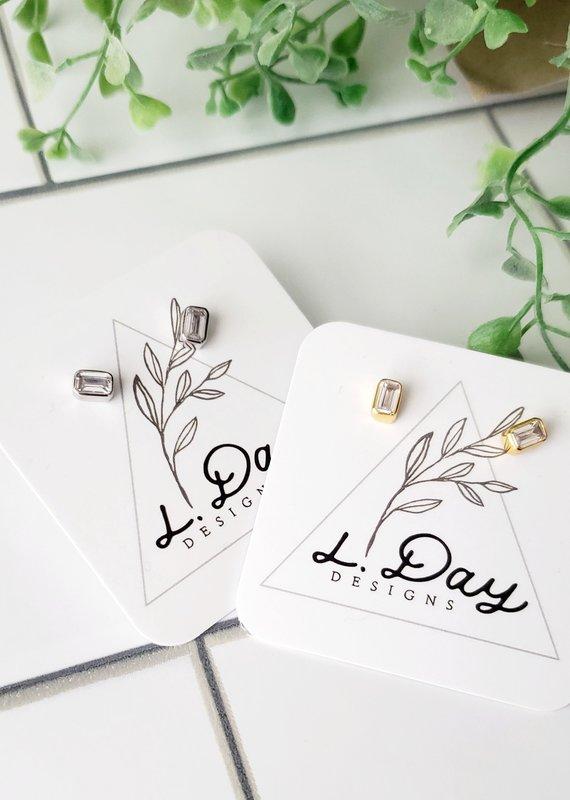 LDayDesigns Rectangle Bezel Diamond Stud