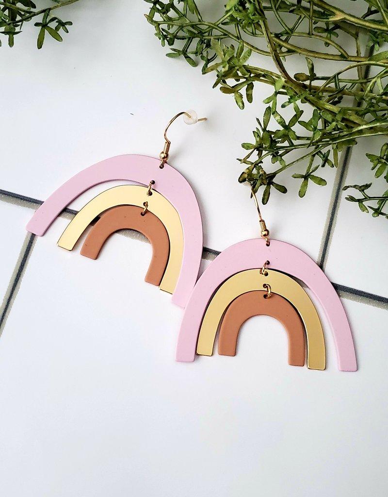 LDayDesigns Coated Metal Rainbow Earrings/Purple