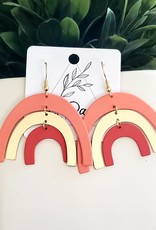 LDayDesigns Coated Metal Rainbow Earrings/Pink