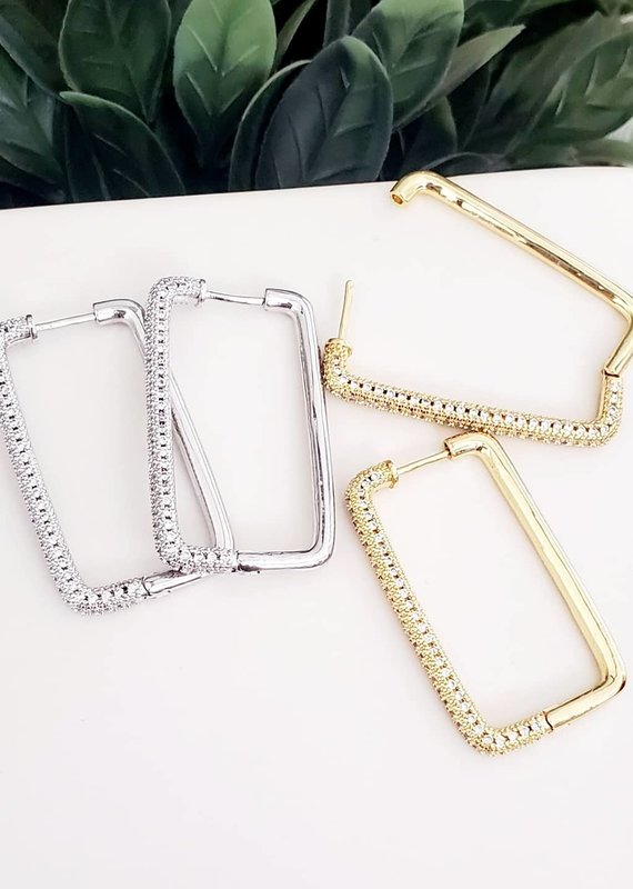 LDayDesigns Crystal Latch Rectangle Hoop