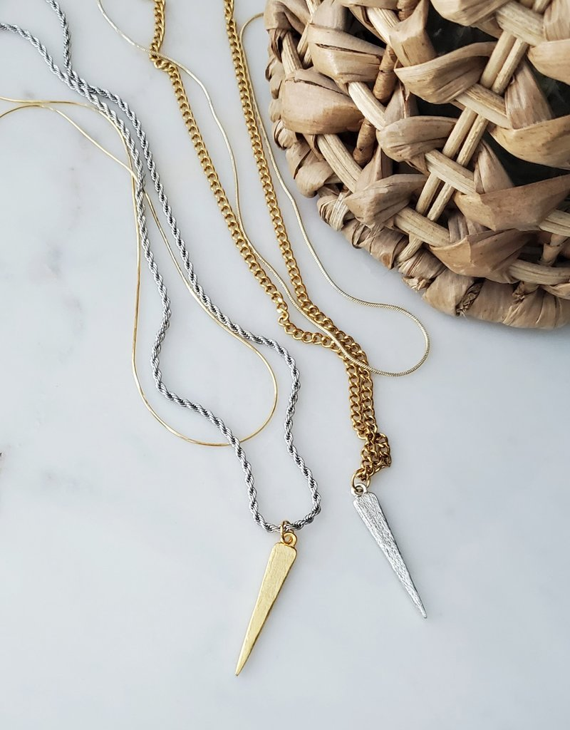 LDayDesigns Pewter Spike Layer Necklace