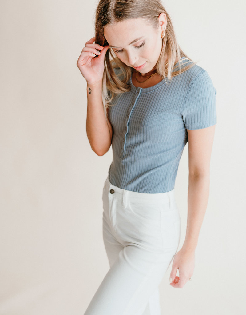 Button Ribbed Bodysuit