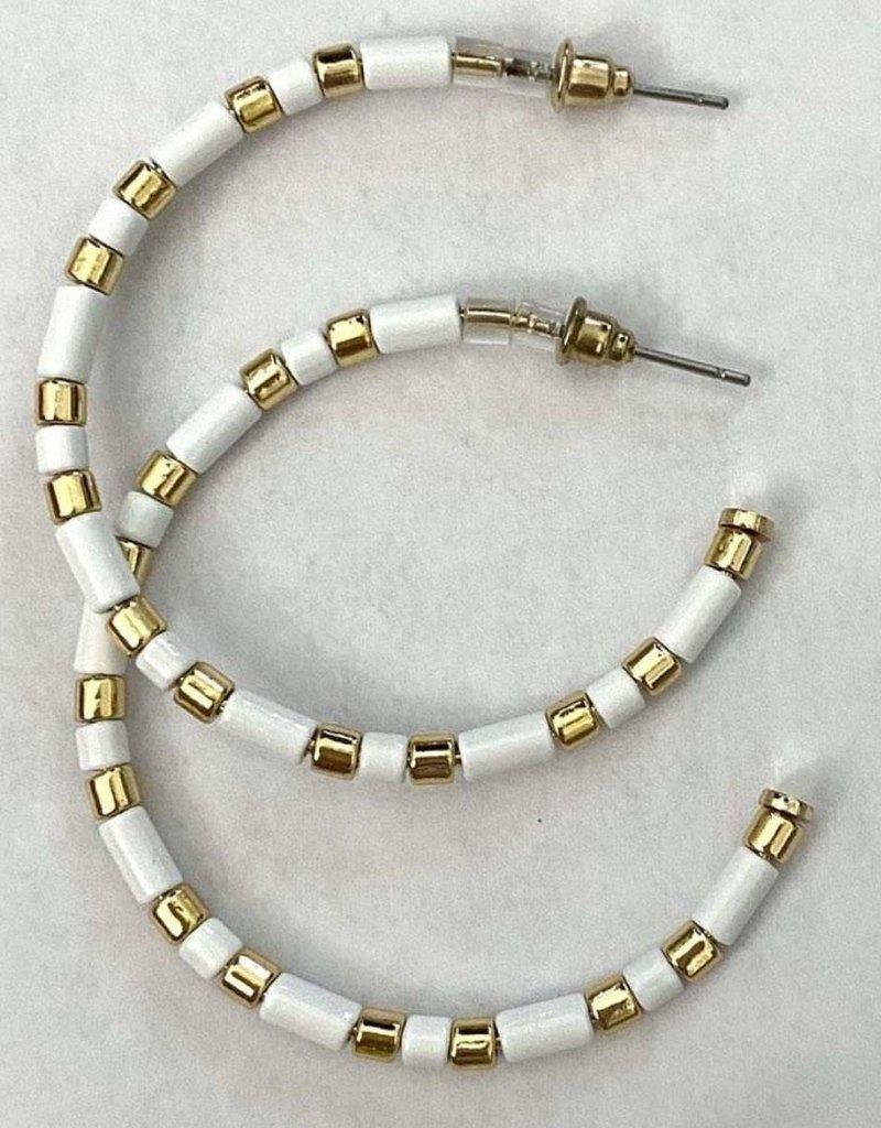 Farrah B Beaded Hoop Earrings