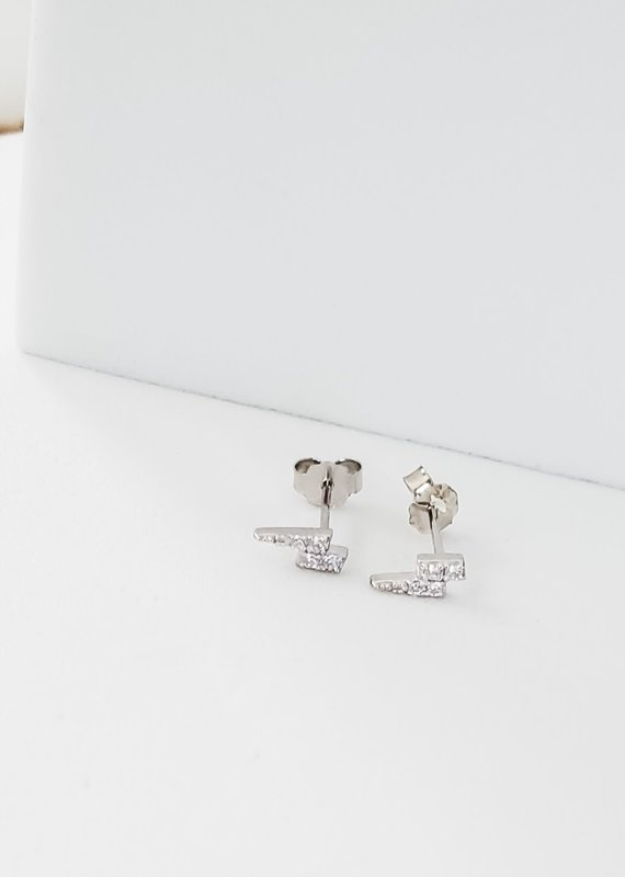 LUX Sterling Iced Lightning Studs