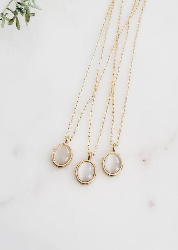 LUX Moonstone Oval 18k & Sterling Chain