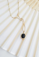 LUX Agate Oval 18k & Gold Necklace