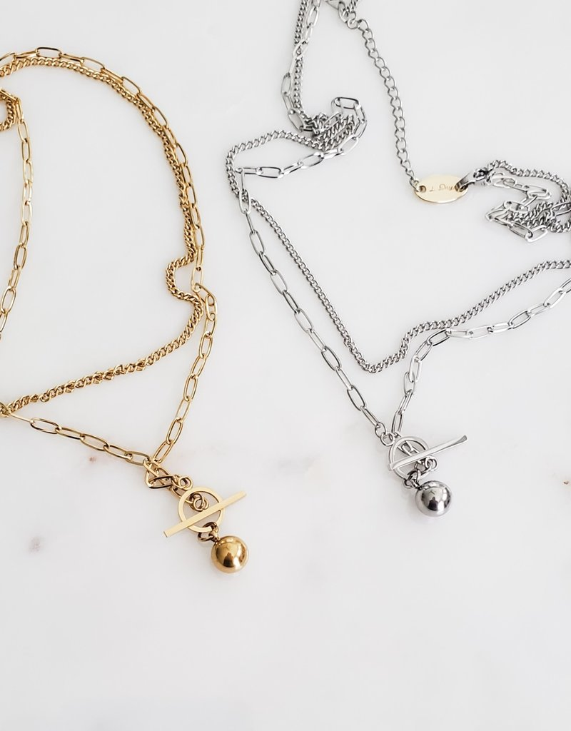 LUX Steel Layered Toggle Necklace