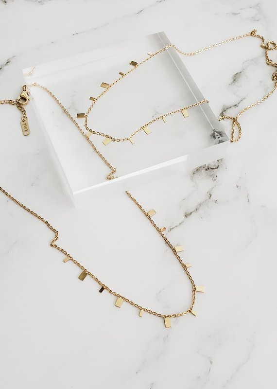 LUX Squared Fringe Necklace in Sterling