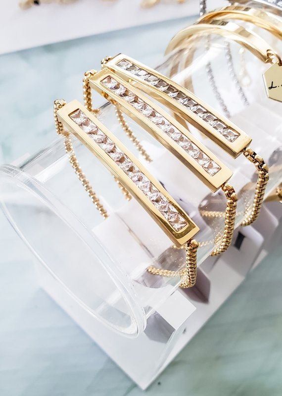 LUX Bolo Steel Crystal Bracelet