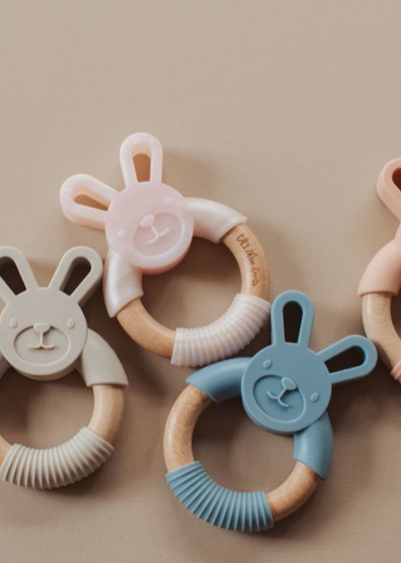 Three Hearts Modern Teething Accessories Silicone Bunny Teething Ring