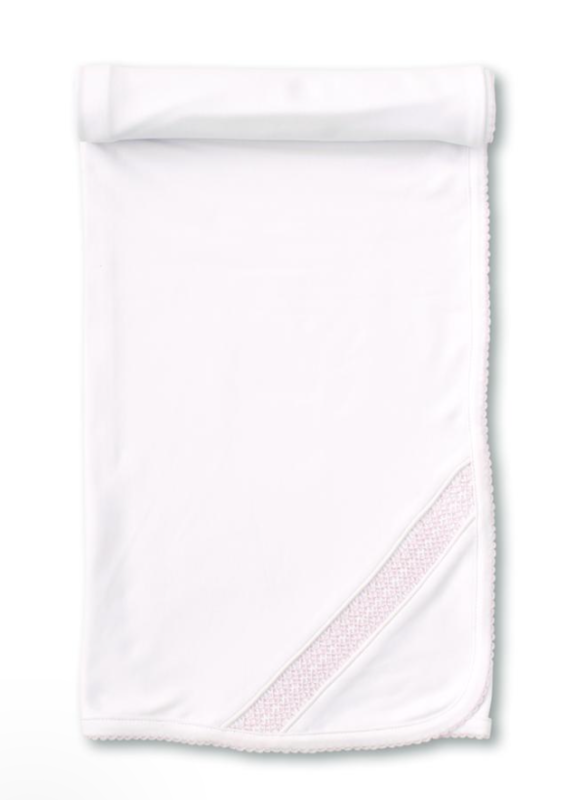 Kissy Kissy Hand Smocked White/Pink Blanket