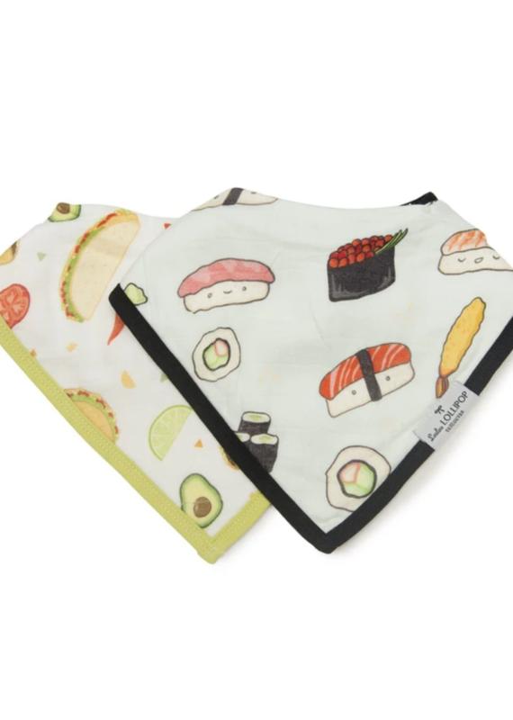 LouLou Lollipop Bandana Bib Set- Sushi/Taco