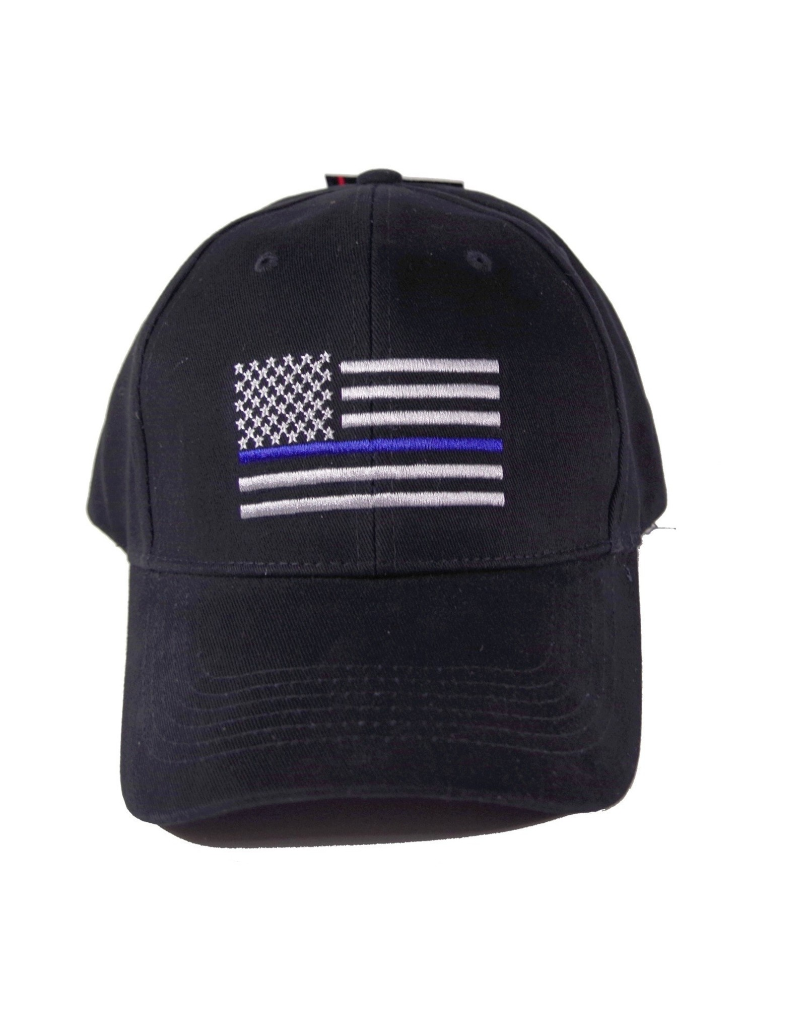 Blue Line Flag-Embroidered Black Cap
